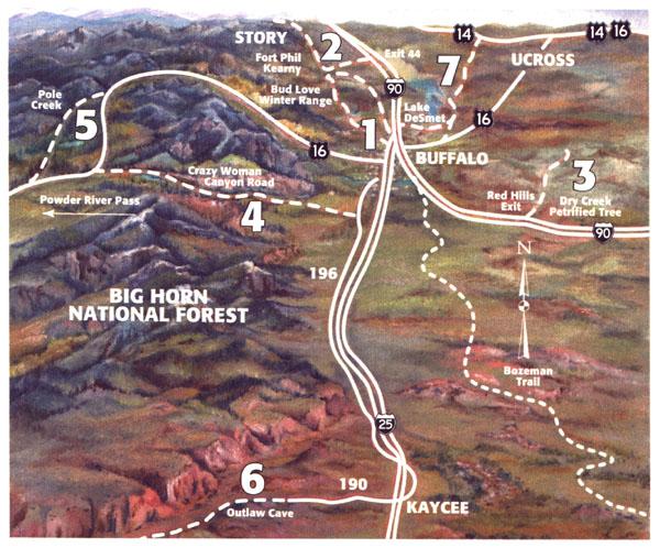 Buffalo, Wyoming area map